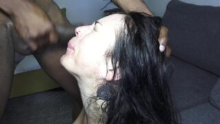 Adeline gets fucked extremely rough, 2on1, 0% pussy, fisting, foot in ass, piss drinking, spanking, slapping, submission AL030